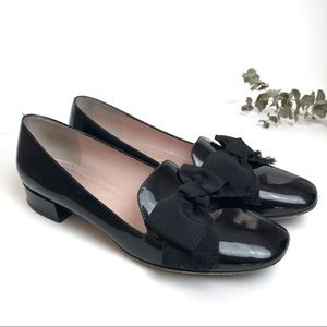 Kate Spade Patent Leather Block Heeled Loafer Bow